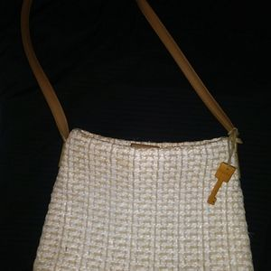 Fossil Straw Woven Purse